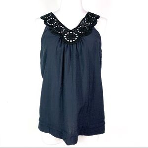 BCBG MAXAZRIA || Navy V Neck Sleeveless Top Small
